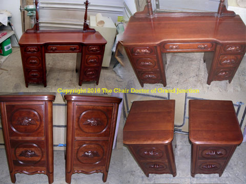 cherry vanity to end tables